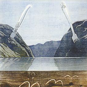 Landskapsmaleri i olje, hus ved vann, fjell og fjord, malt av Hilde B. Bruvoll